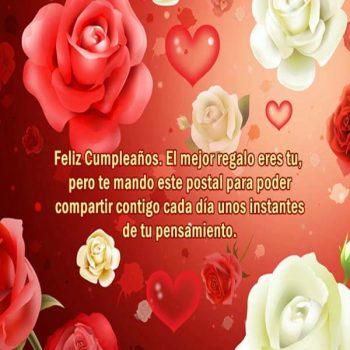 imagenes con frases de feliz cumpleanos con rosas postal
