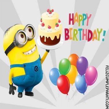 imagenes de minions de feliz cumpleanos pastel